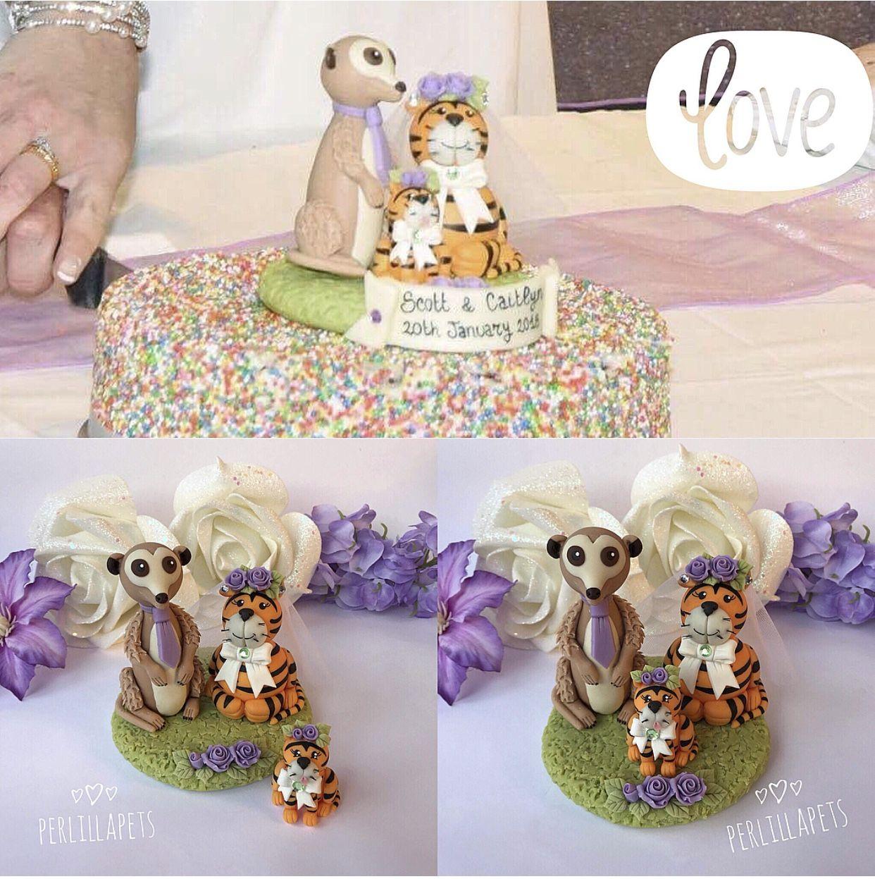 Meerkat groom & Tiger bride wedding cake topper Congratulations to ...