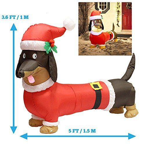 5ft Long Wiener Dog Self-Inflatable with Suit Perfect for Dachshund - christmas blow up decorations