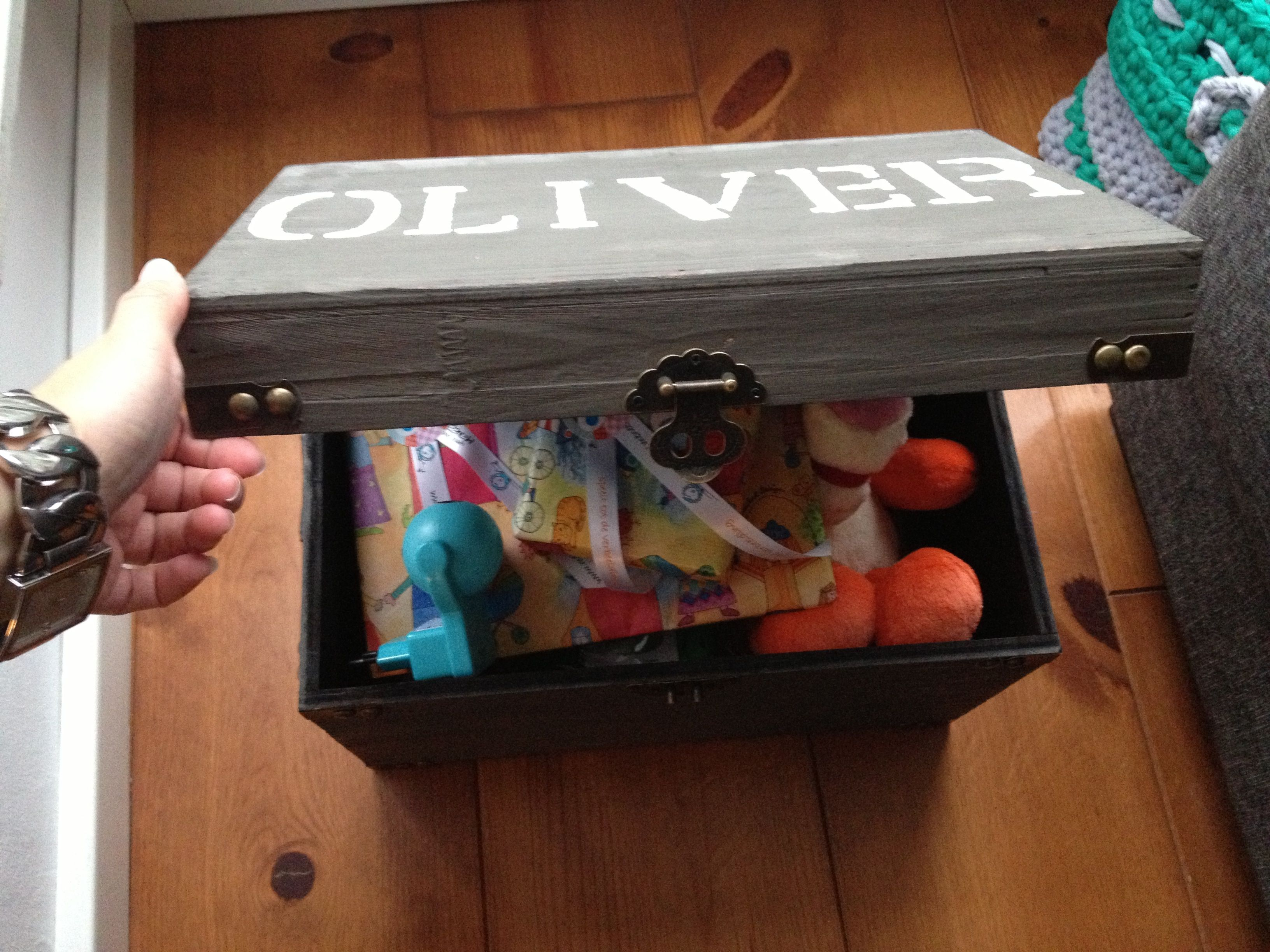 Baby Oliver gift box with his name on it!
