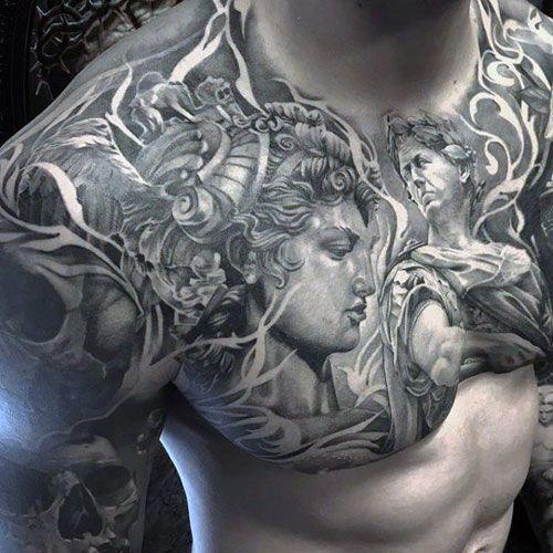 Chest and Half Sleeve Tattoo #tattoos #tattoosforguys # ...