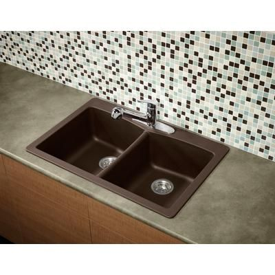 Glacier Bay   Double Bowl Granite Kitchen Sink   Espresso   401102   Home  Depot Canada