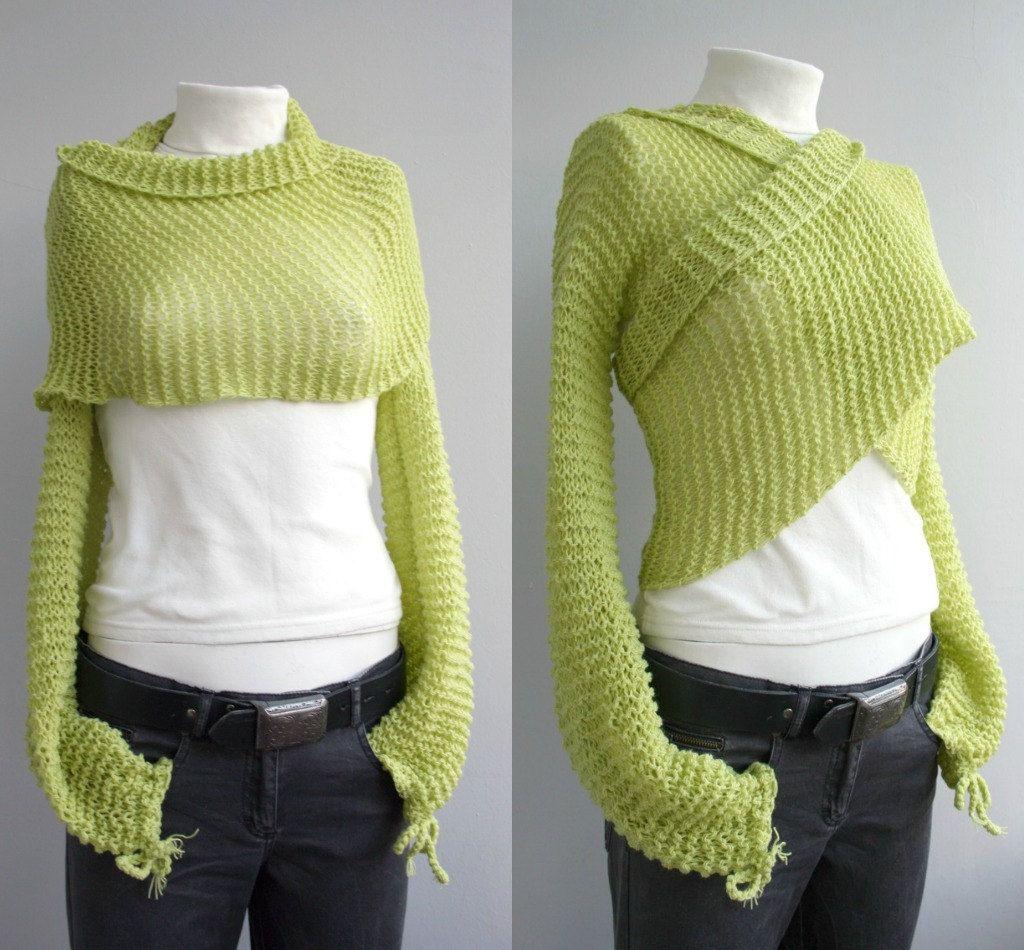 Hand knitted Long Sleeve Pistachio Green Bolero - Shrug- Shawl ...