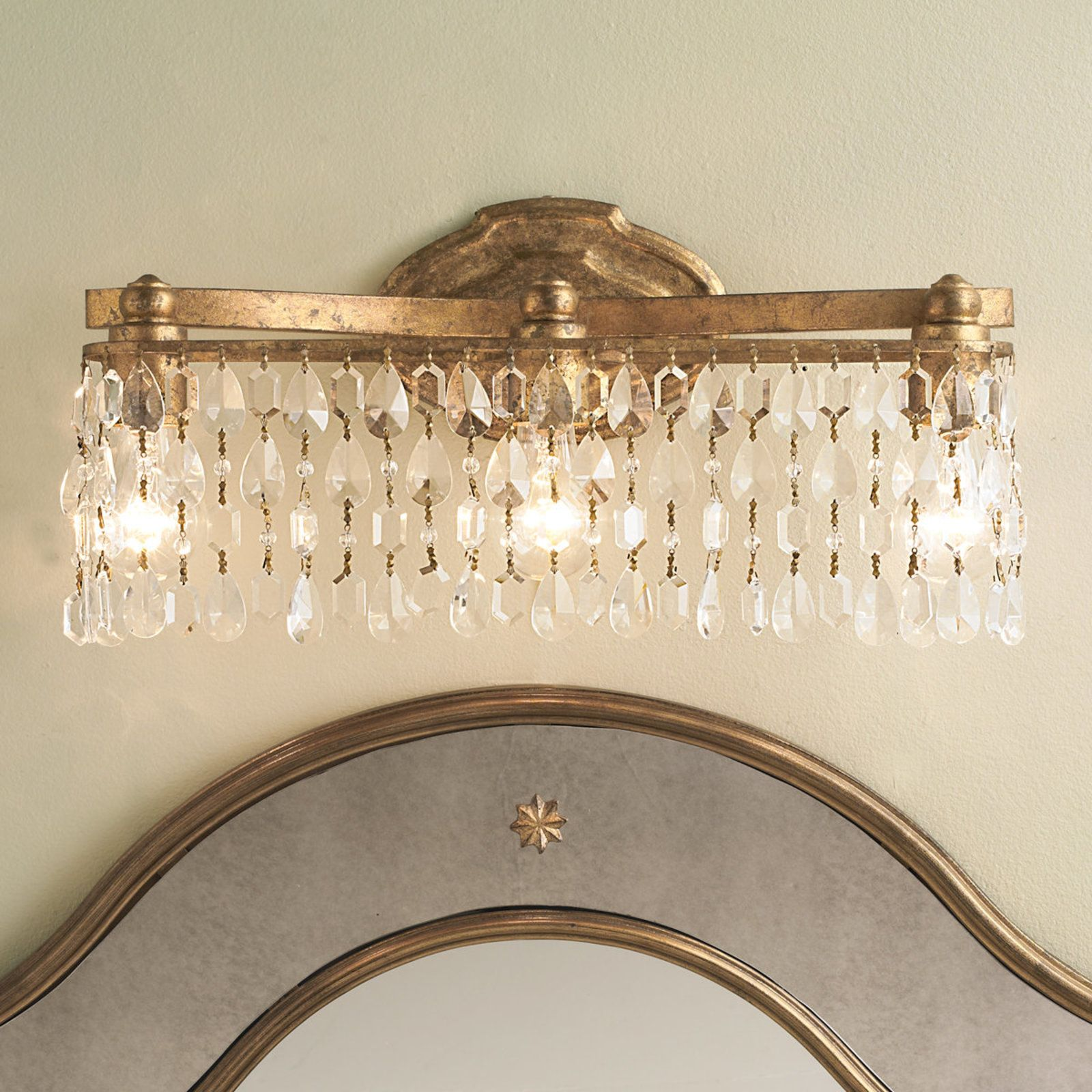 Crystal Pendalogue Curtain Bath Light