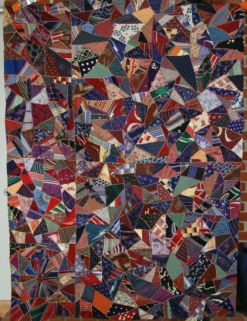 40's Vintage Birds in Flight Crazy Antique Quilt Made from Neck Ties Nice Blue | eBay