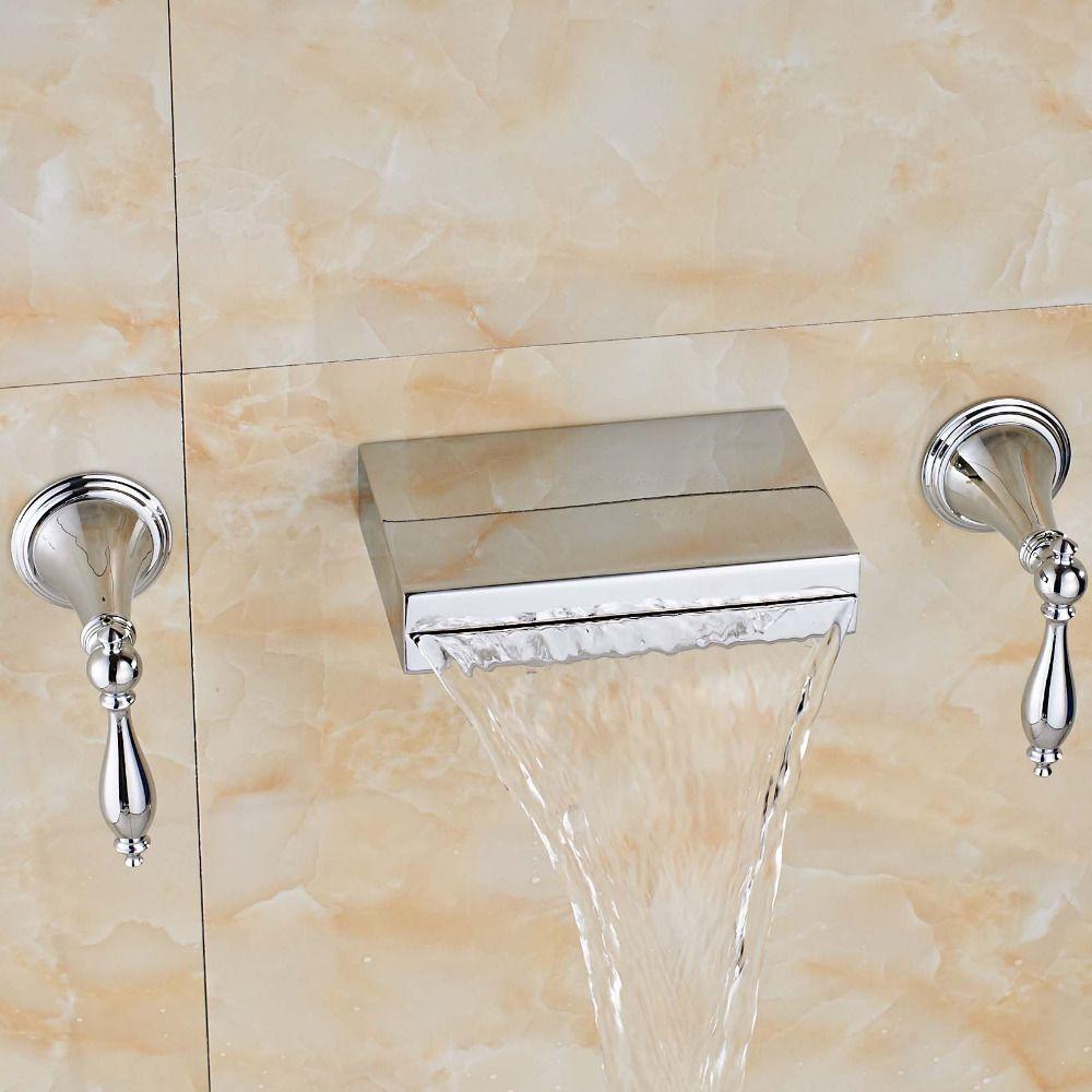Newly Fashion Wall Mounted Chrome Polish Bathroom Tub Faucet Dual