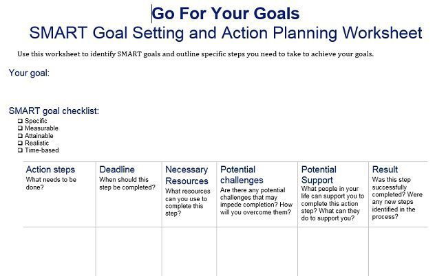 Image Result For Smart Goal Setting Worksheet  Coaching And