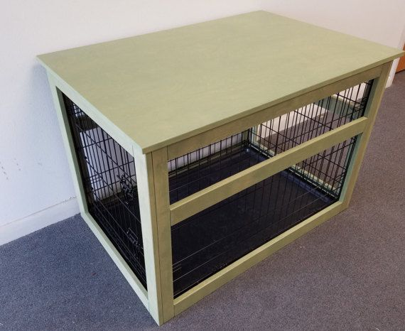 Medium Wire Crate with Wooden Cover for Dog or Cat, End Table, Night Stand, Made in USA