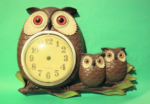Vintage 70s Owl Clock Kitchen Home Decor by ThingsYoullLoveNLife ...