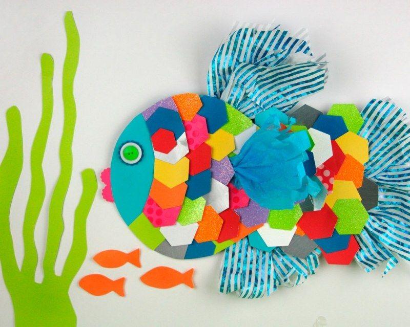 Basteln Mit Kindern Fisch Aus Papier Und Bonbonpapier