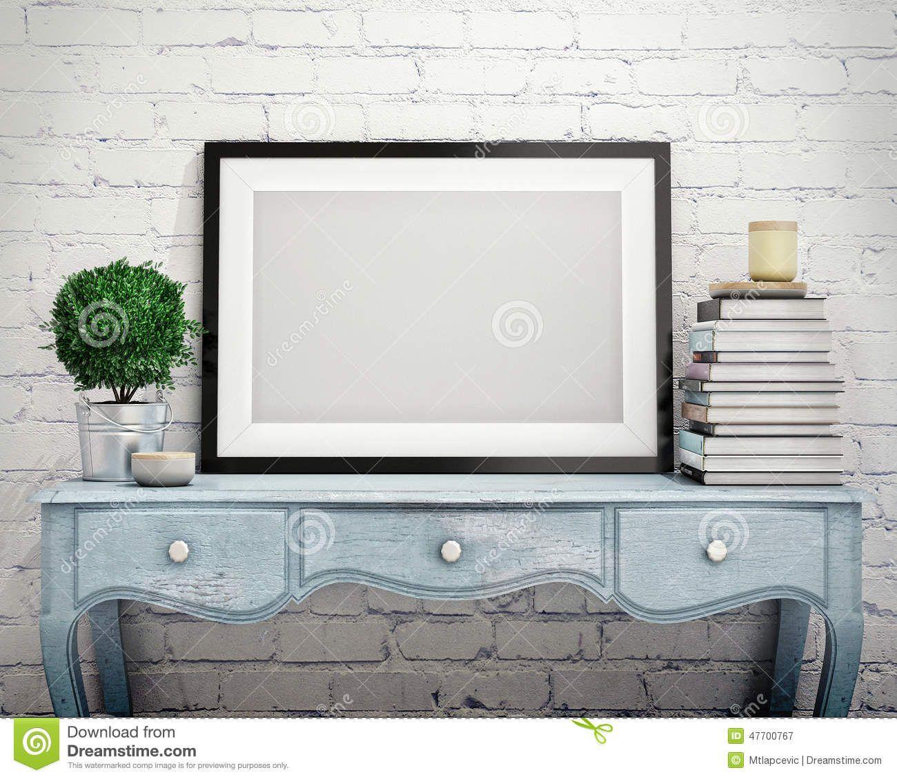 . Mock up poster frame on vintage chest of drawers  interior