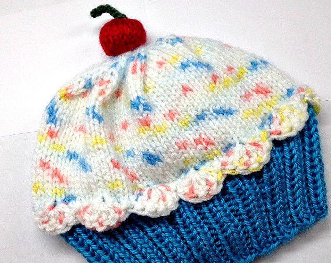 Baby Toddler Cupcake Hat - Handmade Hand Knit - choose ...