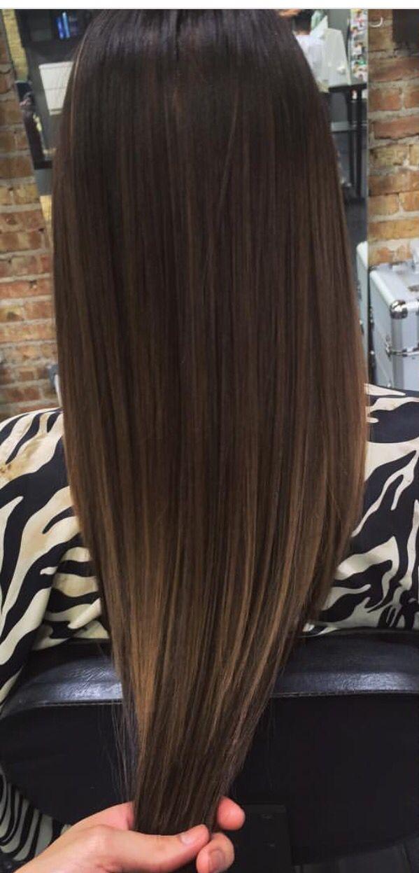 V cut long hair