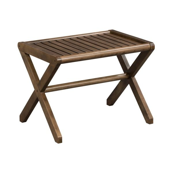 The versatile, beautiful chestnut brown Somette Abingdon Solid Birch Wood Large Stool is the perfect place to towel off after a long, hot shower. The antique-looking 100-percent solid birch wood const