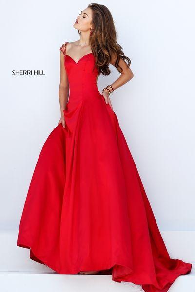 Sherri Hill Prom Dresses Red Long Sleeve