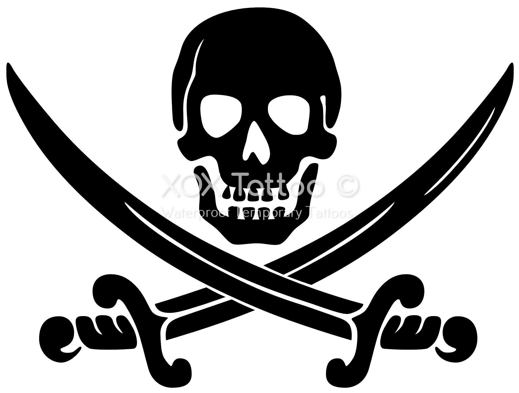 Pirate Skull Waterproof Temporary Tattoos | Silhouette | Pinterest ...
