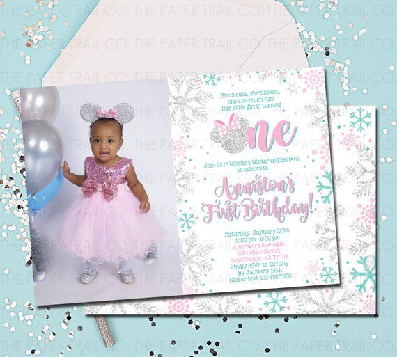 MINNIE MOUSE INVITATION Pink And Silver Winter ONEderland Onderland Invitations 1st Birthday Inv