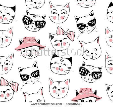 Vector Fashion Cat Seamless Pattern Cute Kitten Illustration In