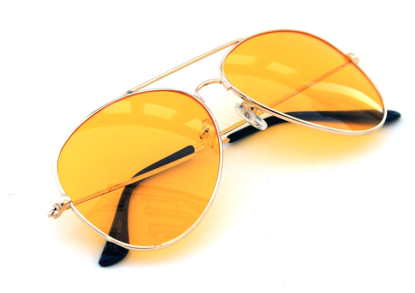 7de0fc43d96a9 Men s Women s Retro Vintage Classic Aviator Gold Metal Frame Orange Lenses  Sunglasses