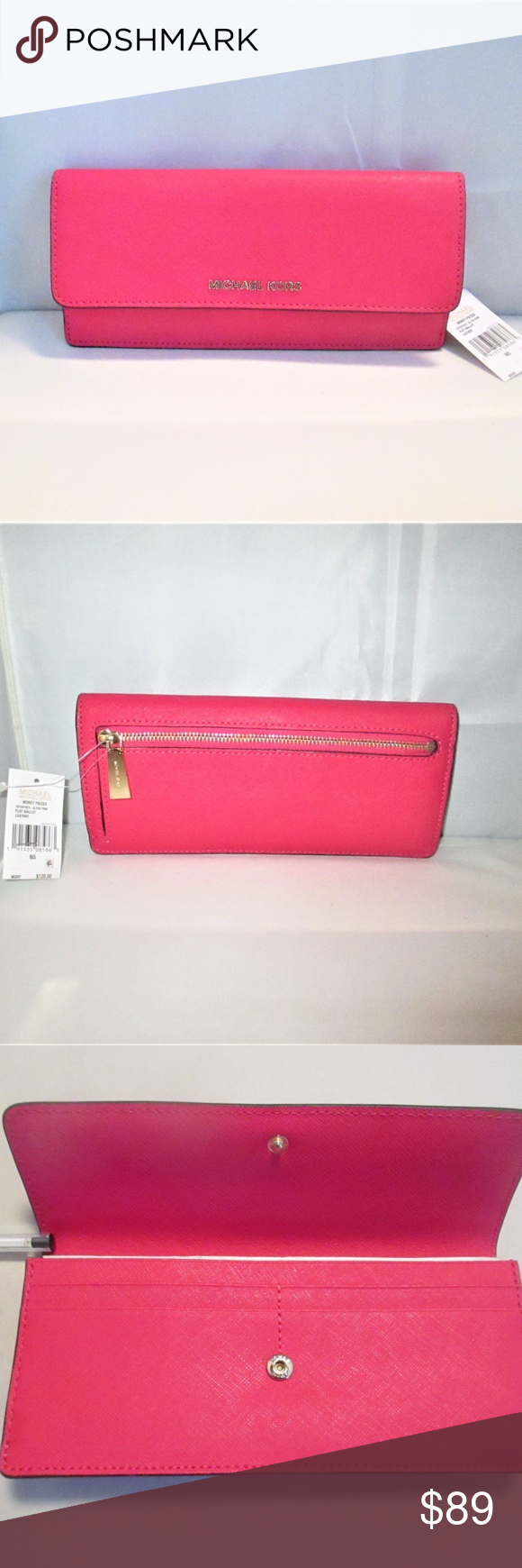 81b80fc1fe00 Michael Kors Money Pieces Flat Leather Wallet This wallet comes from a High  End Department Store