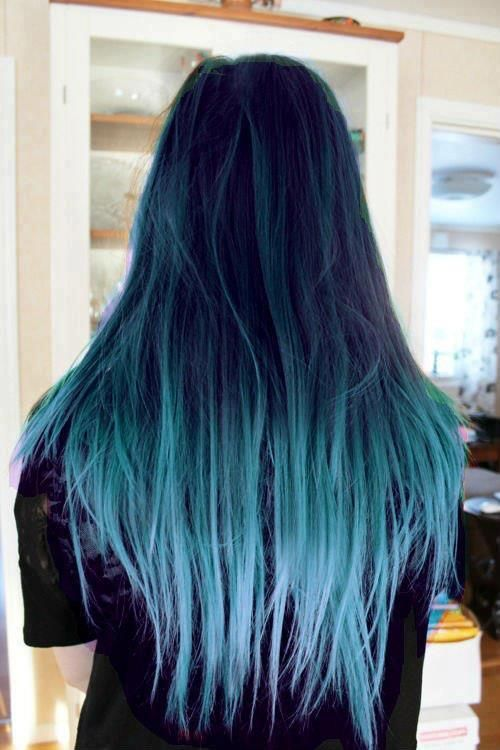 All Hair Dark With Two Strips Of Light Blue In Front Blue Ombre