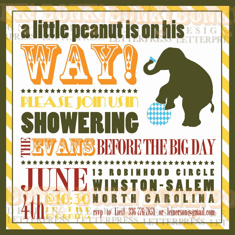 Baby Shower Invitation Little Peanut Circus by BonkPress on Etsy