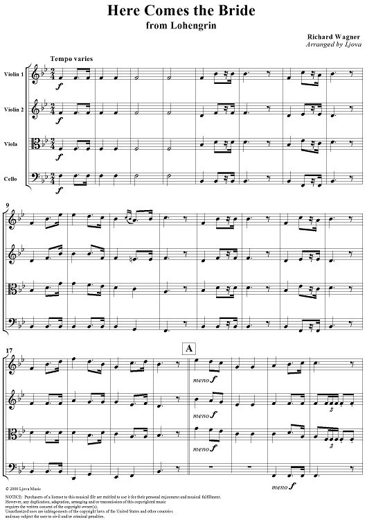Violin Music Sheet Here Comes The Bride Score Preview Page 1