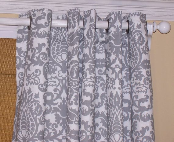 Grey White Damask CURTAINS Premier Fabric Two Drapery Panels 50 X 63 Grommets Pewter Or Silver