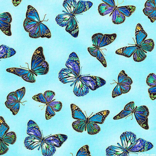 Enchanted - Precious Jewel Butterflies - Lt Blue/Gold ...