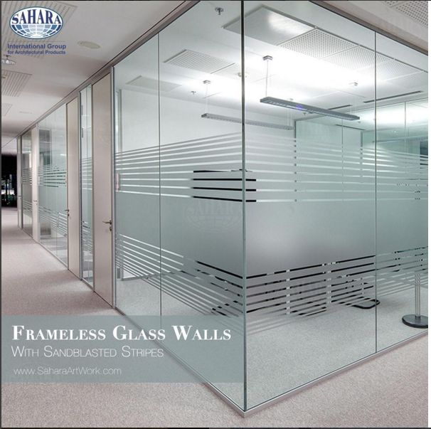 Clean sandblasted stripes for office doors and partitions for Office design glass