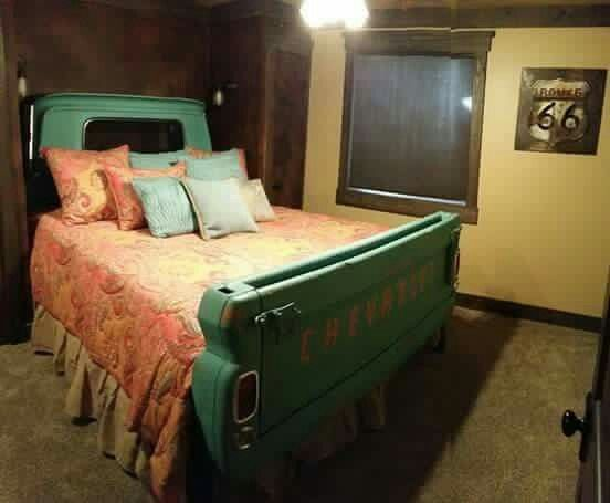 A truck bed, made into an actual bed!!! How neat!!!!