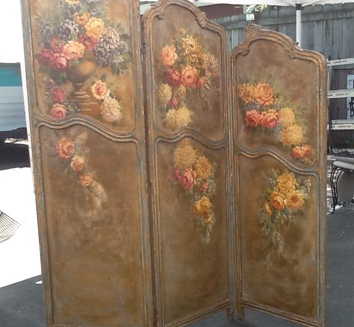 Antique louis xv french room divider screen chic roses for Painted screens room dividers