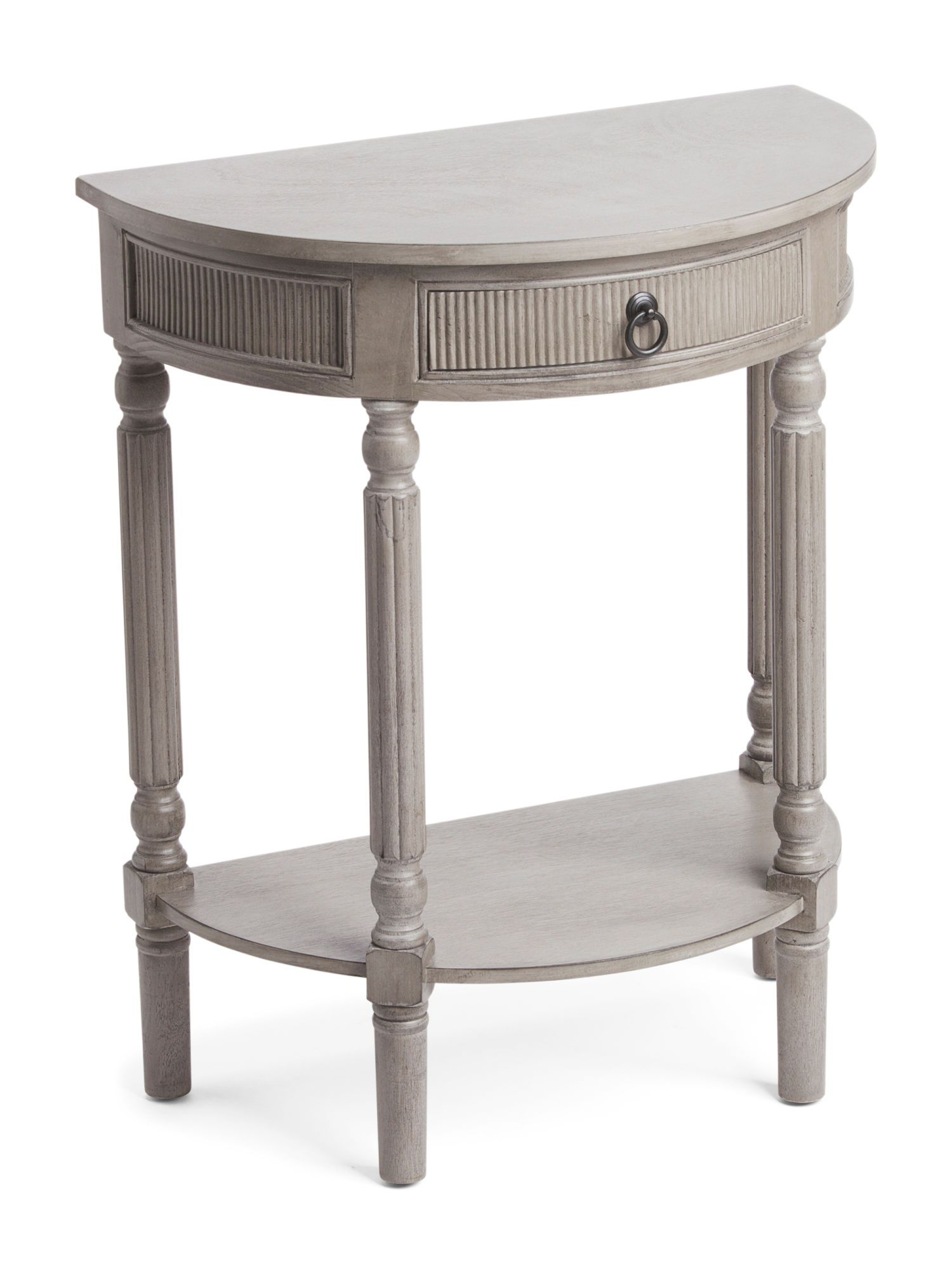 Privilege Half Round Table With Drawer In Stone 80 Tj Ma