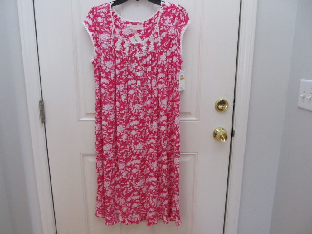 Eileen West Small MicroModal Floral Waltz Nightgown Fuchsia Pink   White S  New  EileenWest  Gowns 0e9204f71