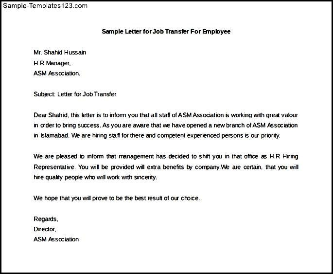 Write Letter Intent For Job Transfer Cover Templates Acceptance