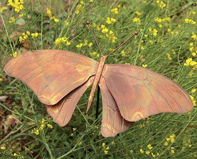 Flamed Copper Butterfly Garden Stake