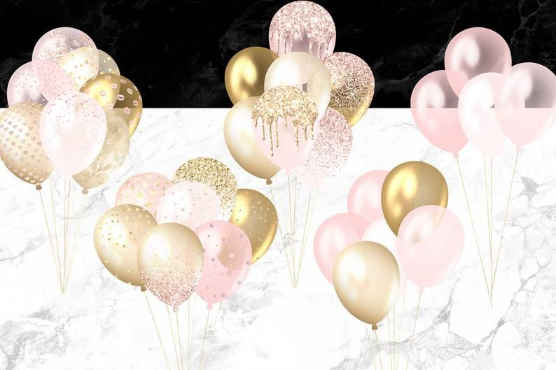 Blush And Gold Balloons Clipart Pink Glitter And Foil Etsy In 2021 Balloon Clipart Blush And Gold Gold Balloons