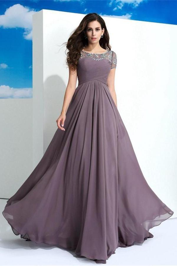 Short Sleeves Long Beading Chiffon Purple Beautiful Prom Dresses Z0578