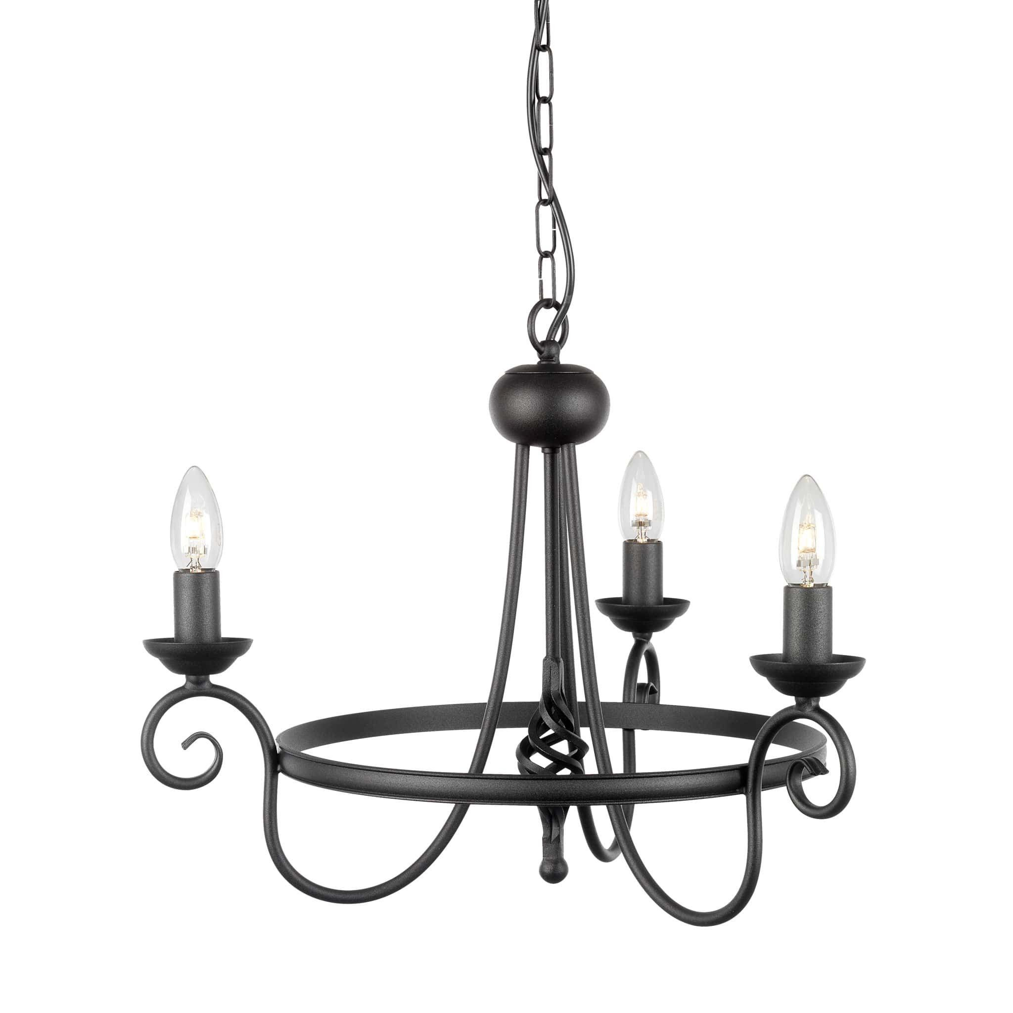 Elstead harlech 3 light black metal candle chandelier candle elstead harlech 3 light black metal candle chandelier arubaitofo Choice Image
