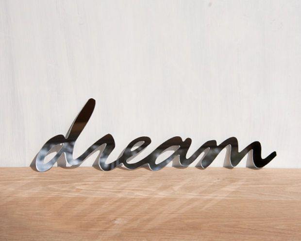 Wall Decor Mirror Word Dream Signage Typography Handwriting