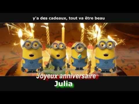 Minions Joyeux Anniversaire Personnalise Julia Youtube