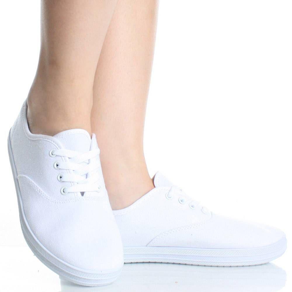 White-Canvas Lace Comfort Sneaker Nurse Dress WomenS Flat Shoes ...