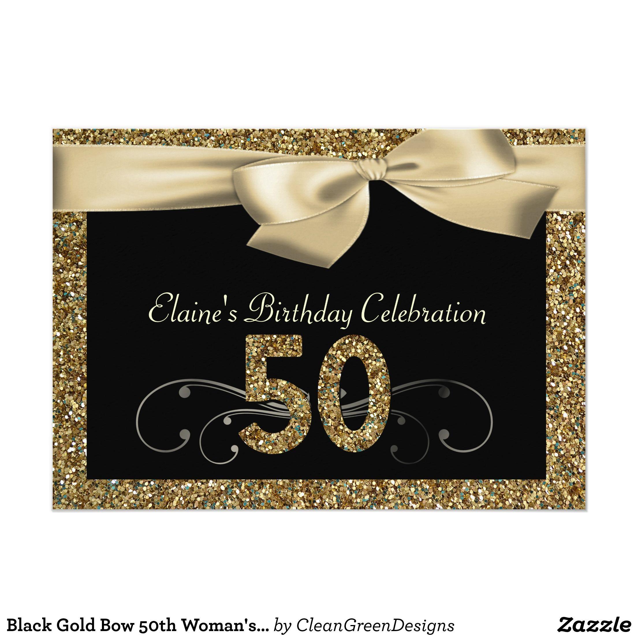 Black Gold Bow th Womans Birthday Invitation