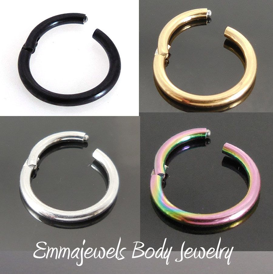 16G-10mm-or-8mm-Hinged-Septum-Clicker-Nose-Ring-Segment-Ear ...