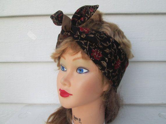 Rosie Wrap Dolly Bow Cute Headbands Rockabilly by Ritaknitsall