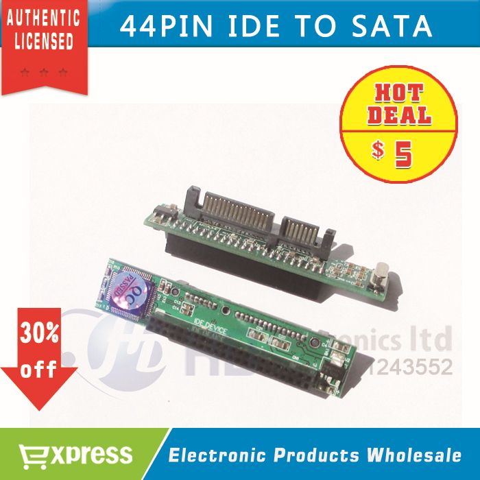 "44-Pin 2.5/"" IDE HDD Drive Female to 7+15pin Male SATA Adapter Converter Card New"