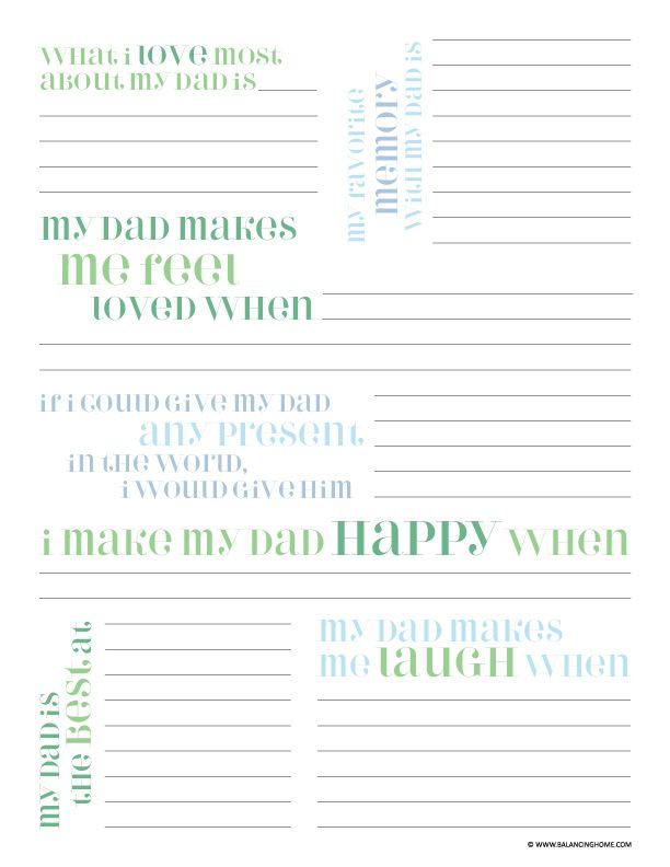Father\'s Day Printable Questionnaire | Best of Pinterest | Pinterest ...