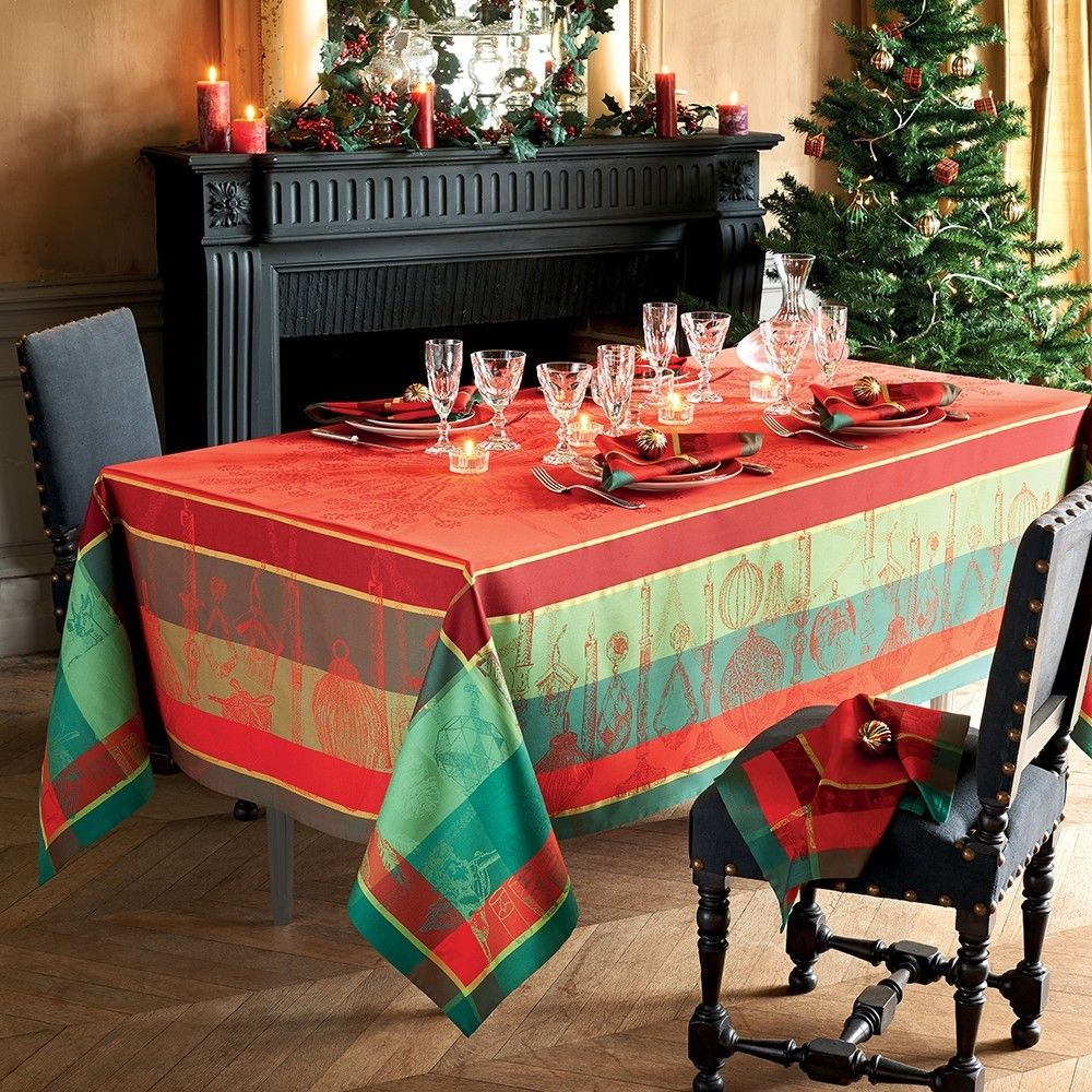 Nappe Noel Illustre Rouge Christmas Table Cloth Holiday