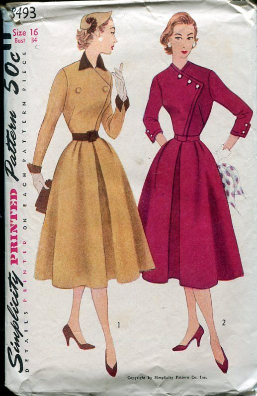 Simplicity 8493 Circa 1952 Unique Asymmetrical Bodice Dress with Full Pleated Skirt