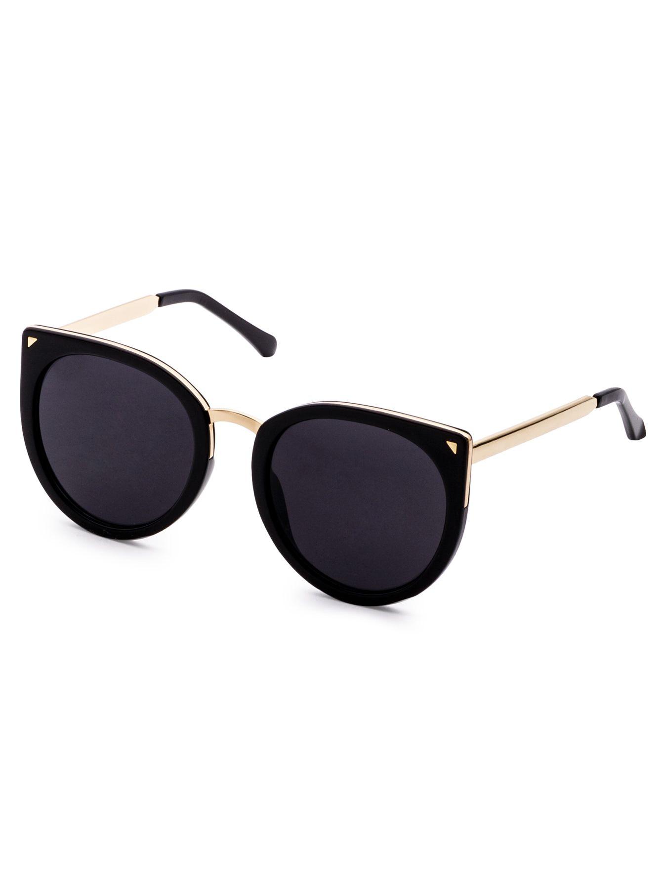 88f62ab732 Gafas de sol estilo ojos de gato y ribete metálico - negro -Spanish  SheIn(Sheinside)