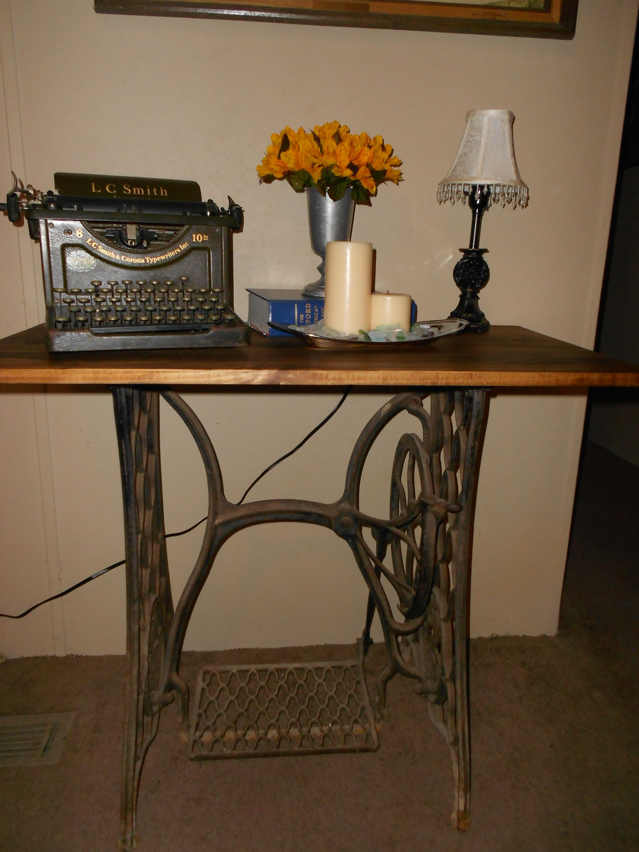 This is my DIY project I made an entry table from antique cast iron